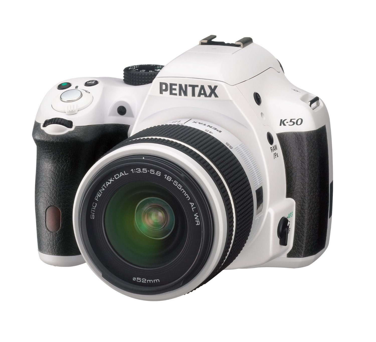 Pentax K-50 (with 18-55mm and 50-200mm WR Lenses, White)