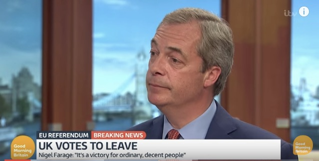 <p>Nigel Farage, facing a barrage of wonder.</p>