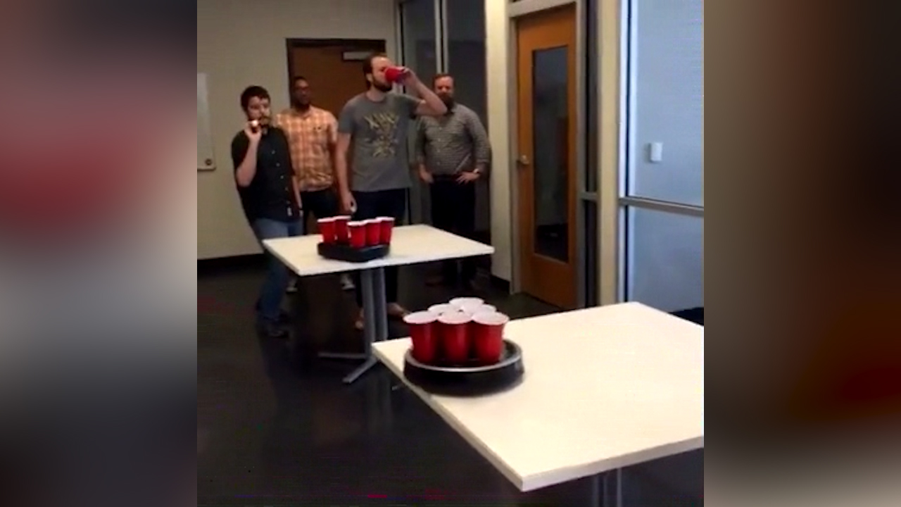 Video: We played beer pong with robot vacuums