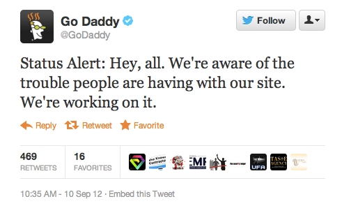 GoDaddy's tweet confirming Monday's service outage.