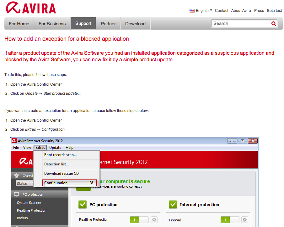 Avira's Web site provides information about how to address the faulty software update.