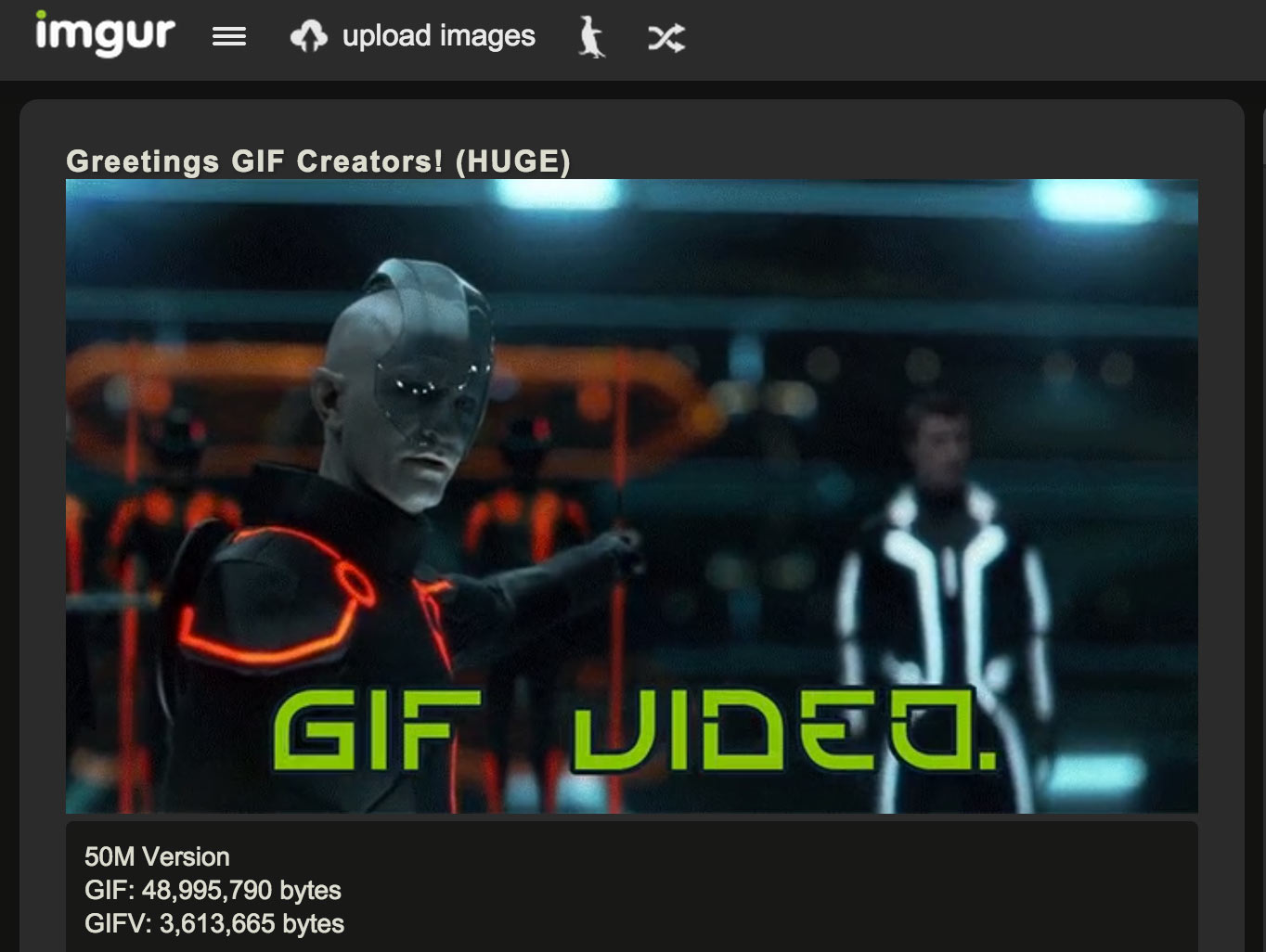Imgur's GIFV format, which repackages bulky animated GIFs into a video file that behaves the same way, compresses to much smaller file sizes.