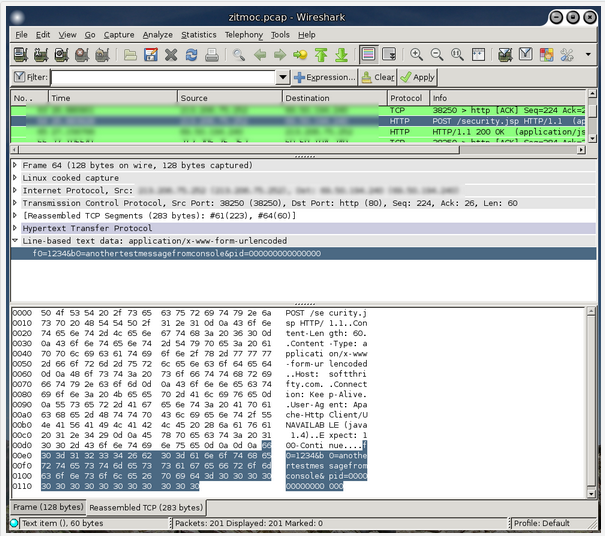 Wireshark capture of Zitmo forwarding an incoming SMS on an infected phone to a remote Web server.