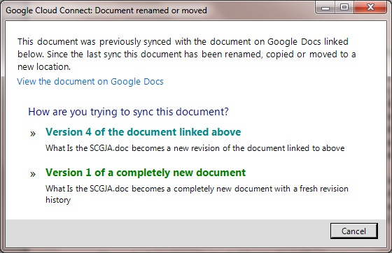 Google Cloud Connect Document renamed or moved dialog