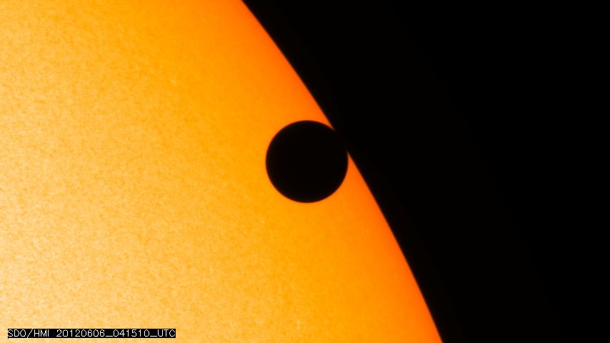 Venus' transit across the sun