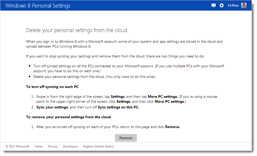 Windows 8 personal settings page