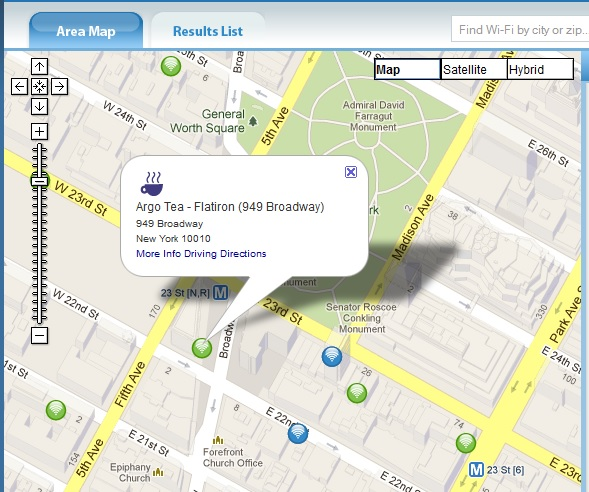 JiWire's Wi-Fi finder identifies free and paid hotspots in cities and countries around the world.