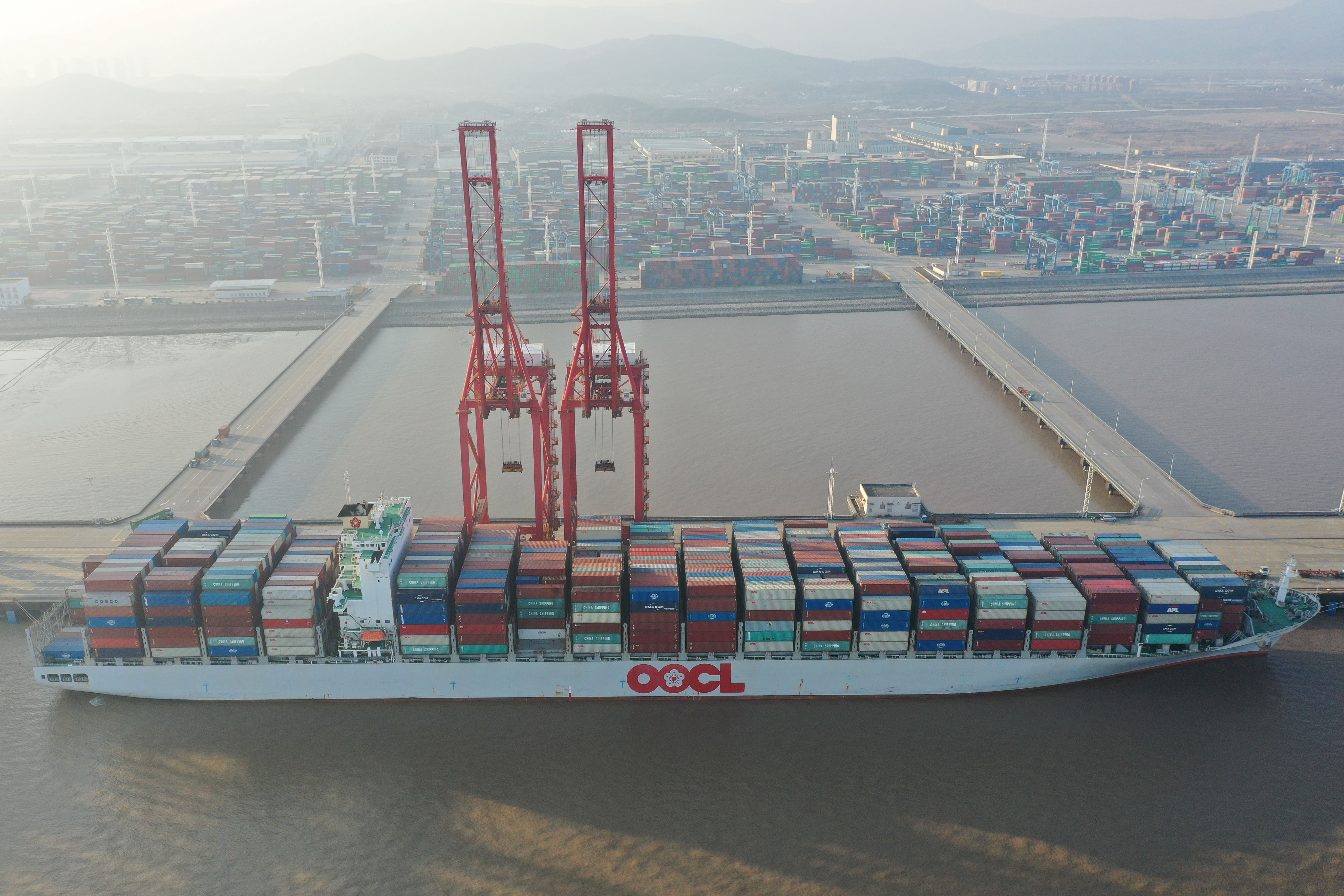 A cargo ship at the Meidong Container Terminal at the Ningbo Zhoushan port in China