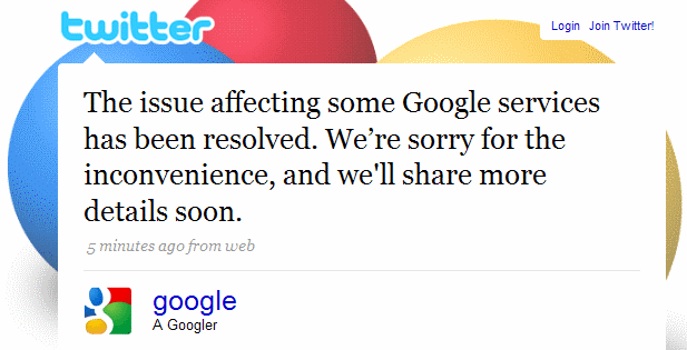 Google tweeted at about 10:20 a.m. PDT that its problems are fixed.