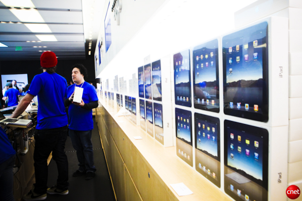 First-generation iPads lined up to go on sale in 2010.