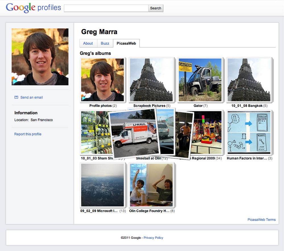Google is adding Picasa Web Albums photos to its Profiles page, lending more social heft to its online hub for people to record their online identity.