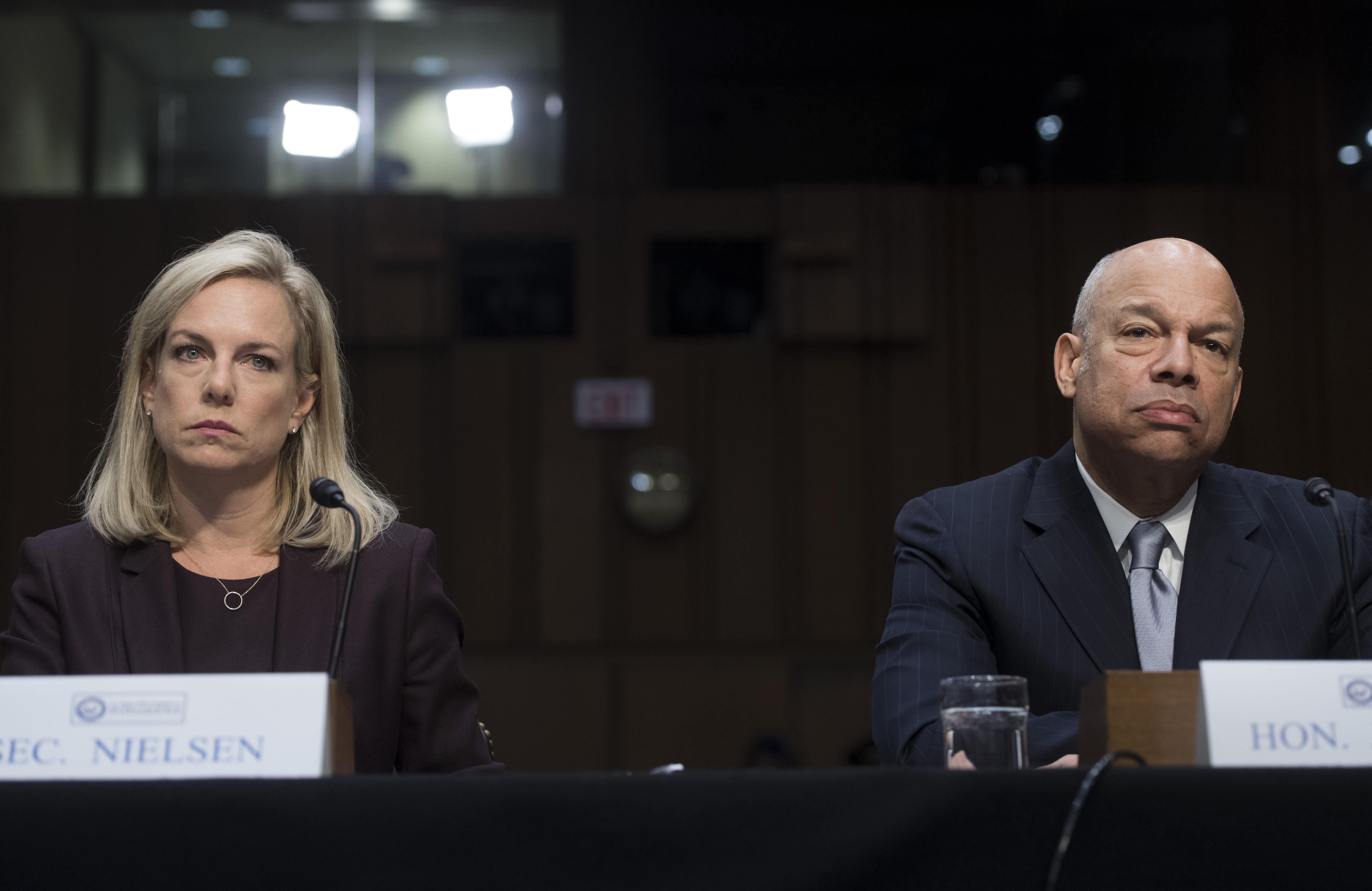 US Secretary of Homeland Security Kirstjen Nielsen and her predecessor Jeh Johnson testify about election security during a Senate Select Intelligence Committee hearing