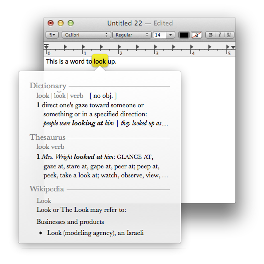 Dictionary lookup in OS X
