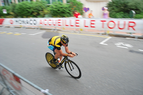 Lance Armstrong races through Monaco on the first day of the 2009 Tour de France.