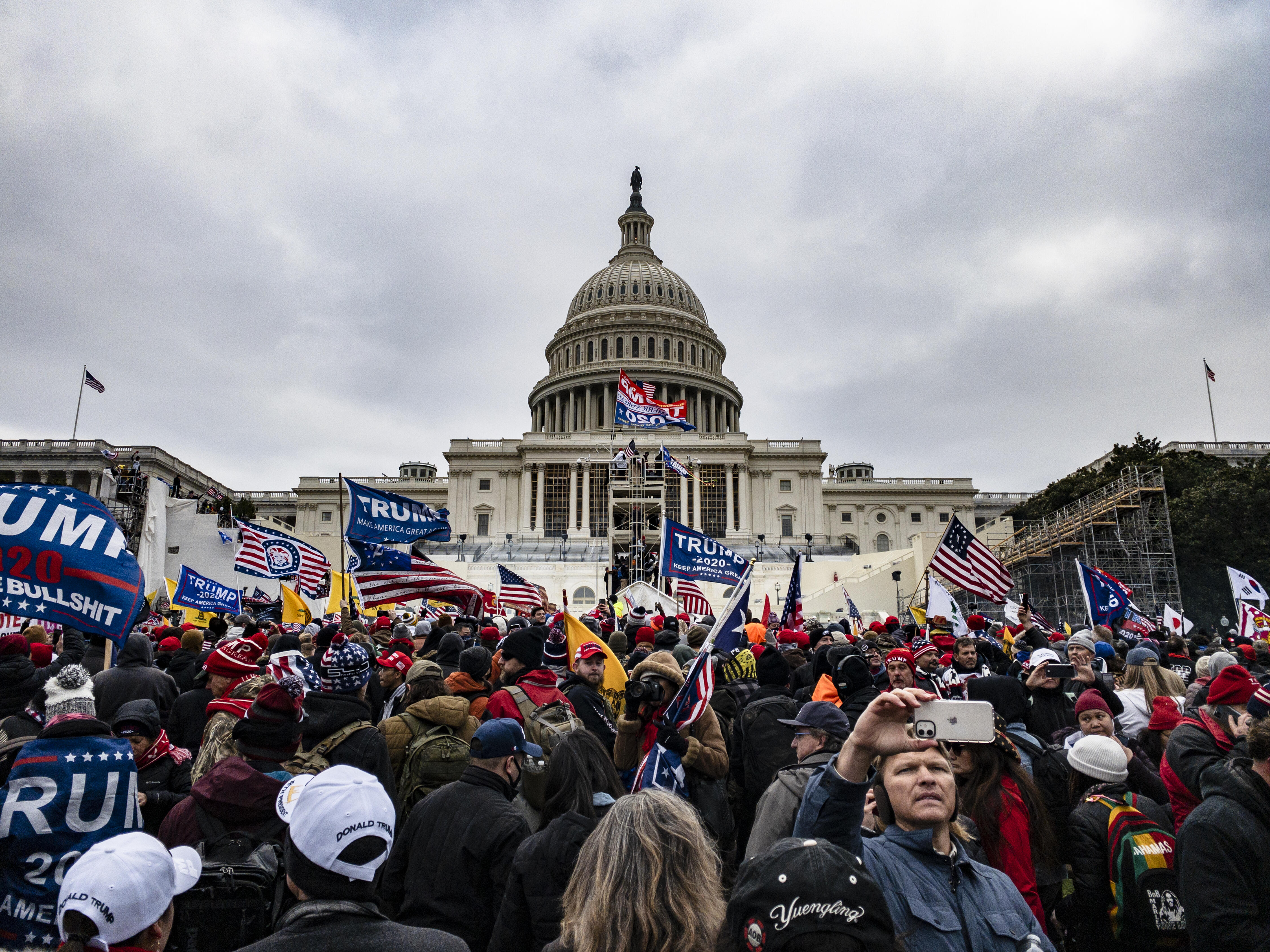 Pro-Trump protesters outside the US Capitol