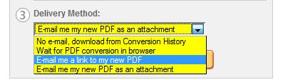Create Adobe PDF Online delivery options