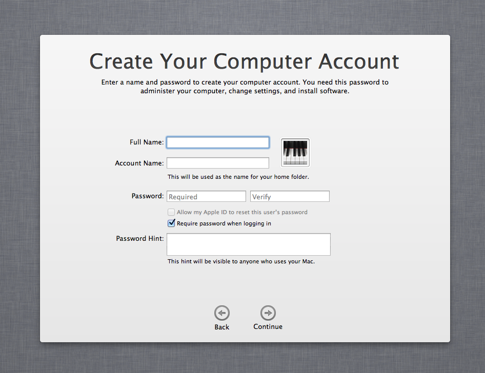 Apple Setup Assistant Account interface