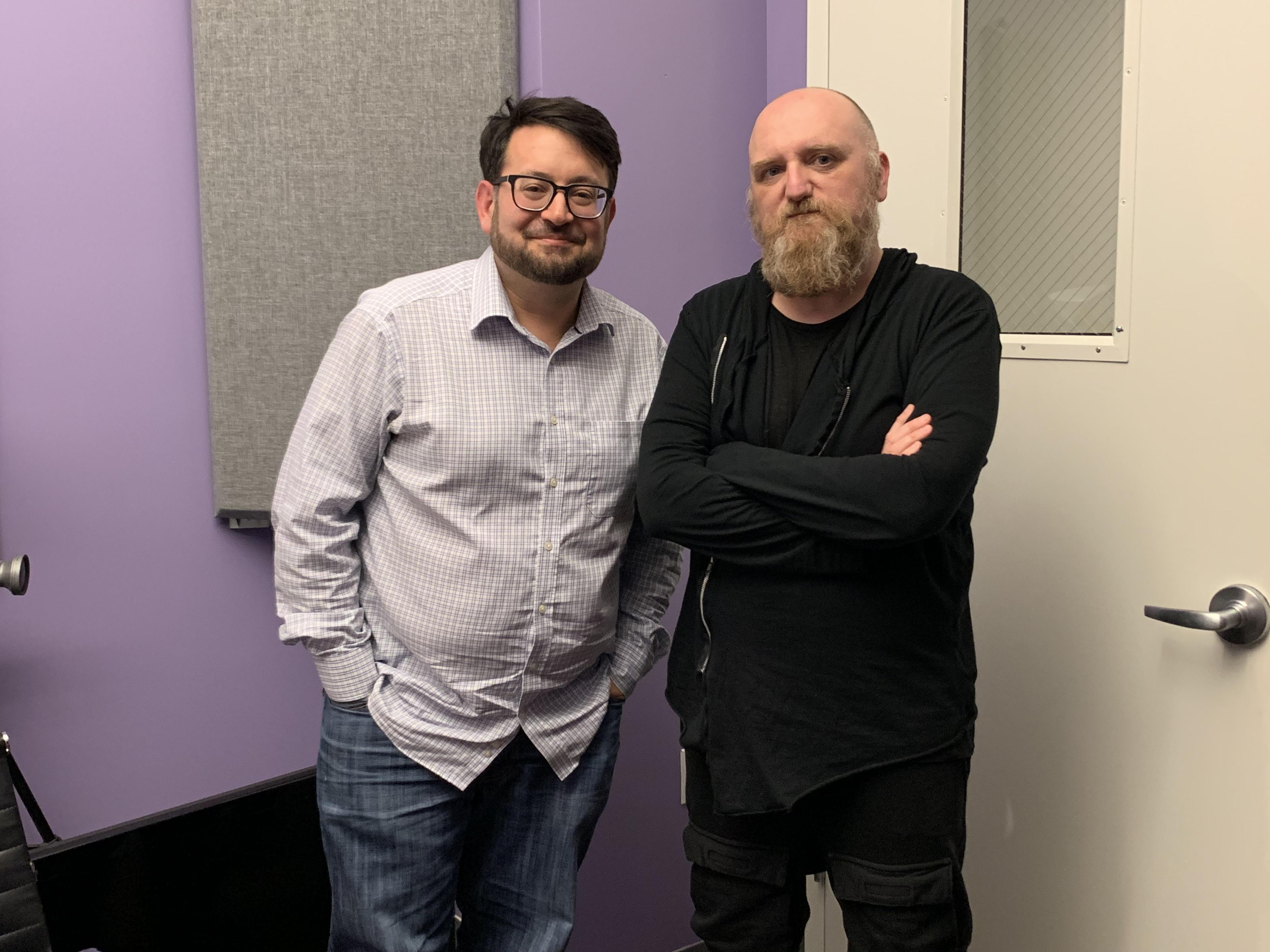 <p>Tim Maughan (right) and Scott Stein (left) at the podcast studio.</p>