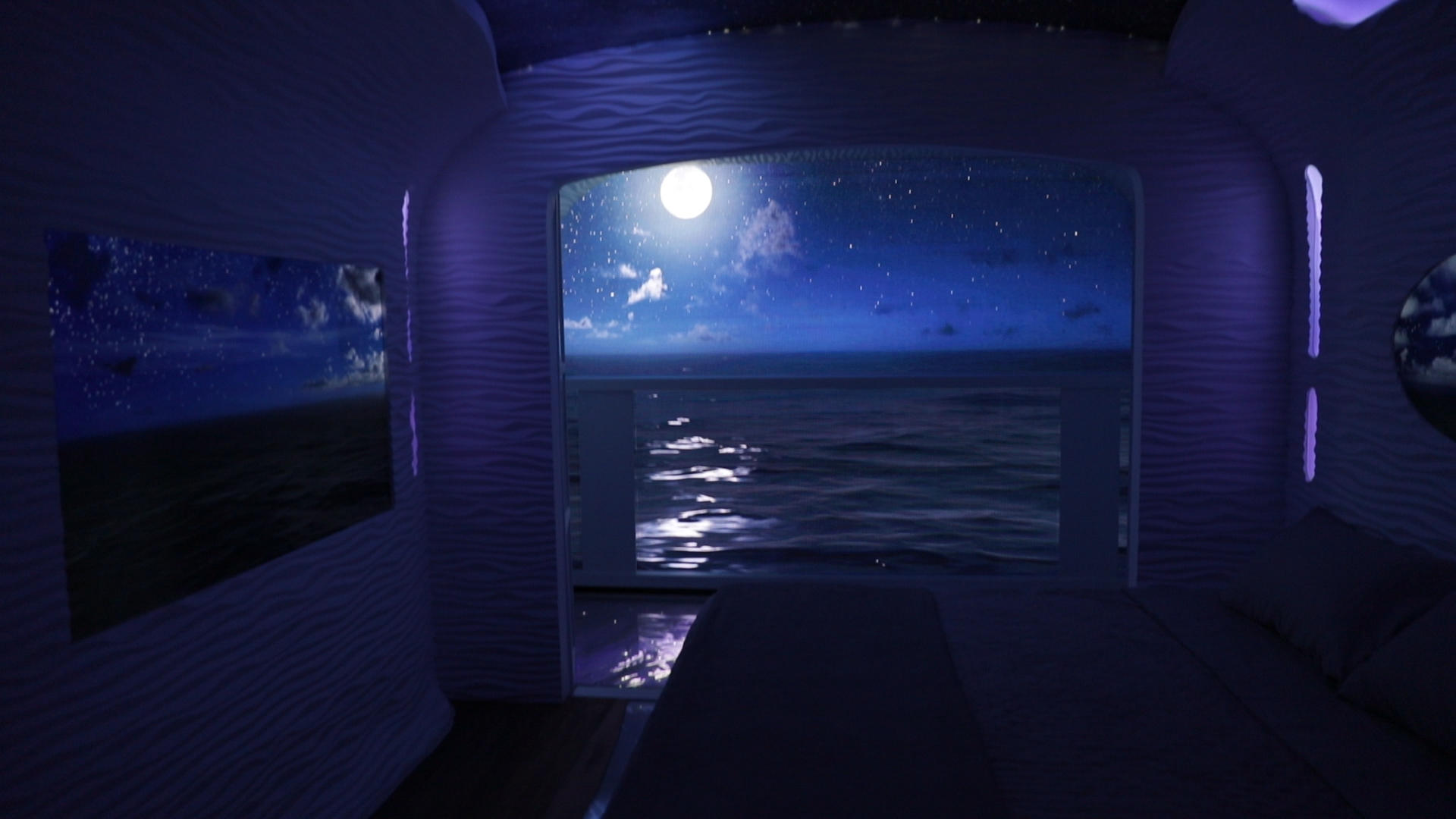 Simulation of a stateroom at night during Royal Caribbean's Sea Beyond tech event.