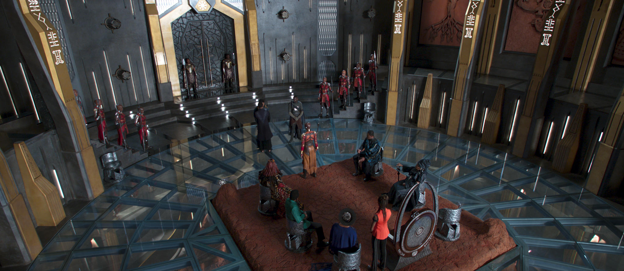 King T'Challa's throne room is an example of Wakanda's combination of African heritage and comic book technology.