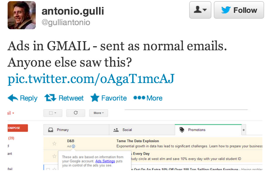 Twitter user gulliantonio spotted ads directly in his Gmail inbox.