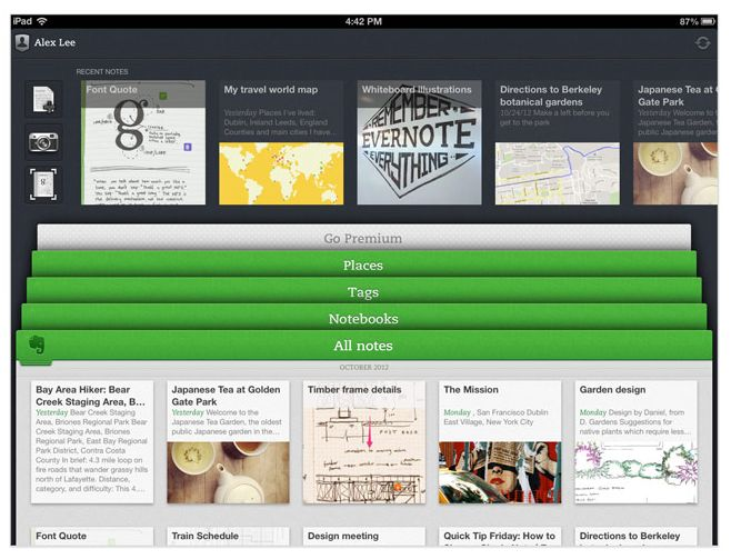 The new Evernote for iPad features a revamped Home screen and much easier navigation.