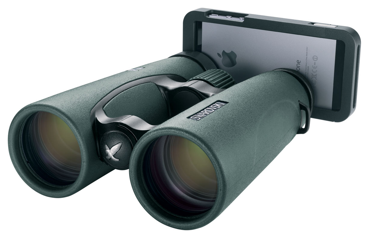 Swarovski's iPhone adapter lets you take a photo with your iPhone 5 and 5S mounted to binoculars.