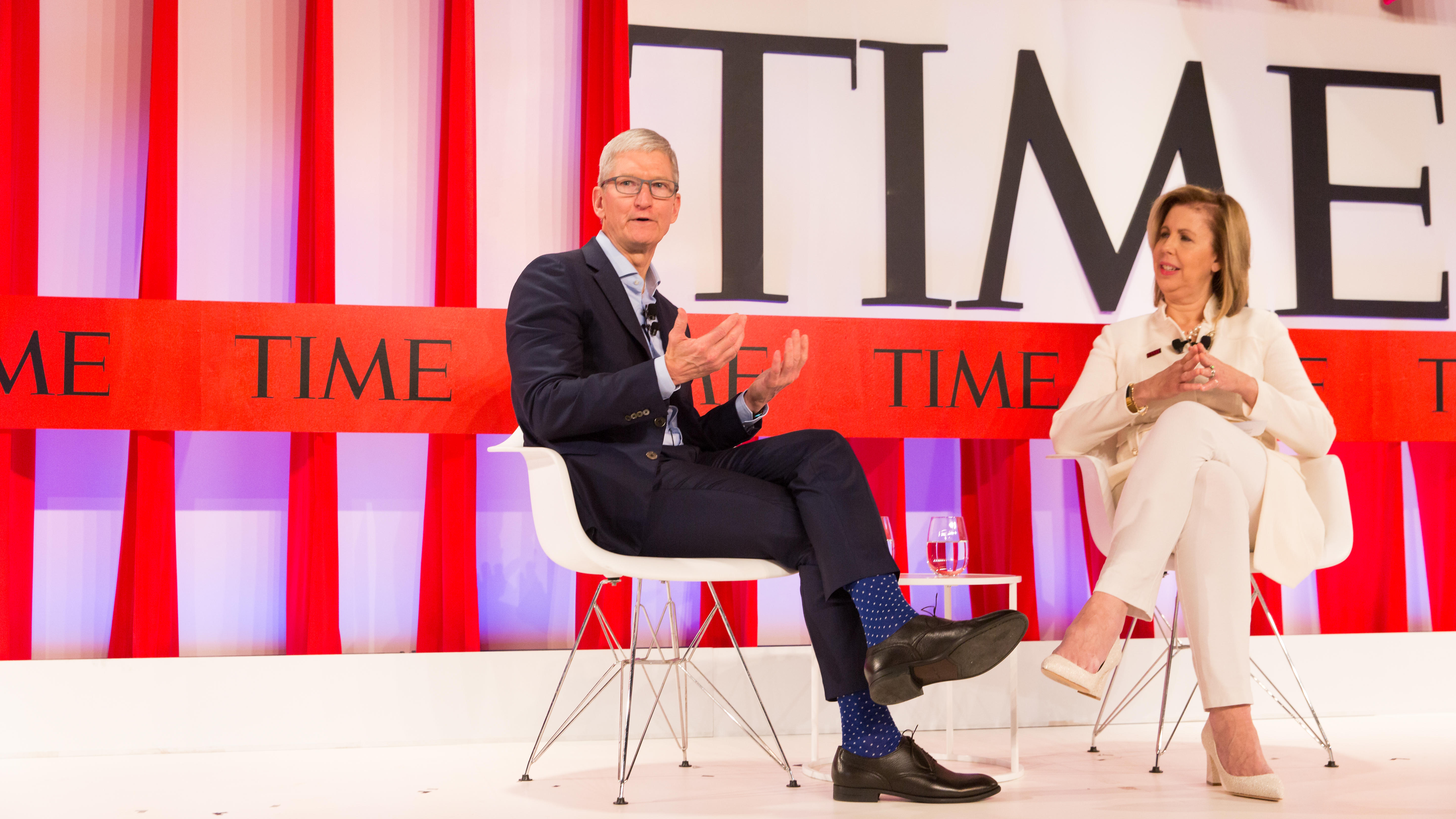 Apple CEO Tim Cook talks about screen addiction, among other things, at the Time 100 Summit in New York on Tuesday.