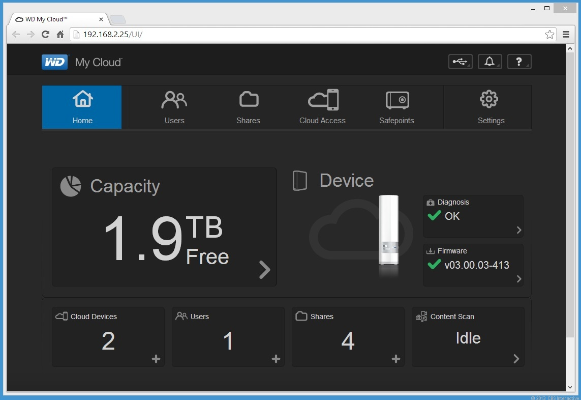 The My Cloud's Dashboard Web interface is very well-organized and should be easy to figure out, even for a novice user.