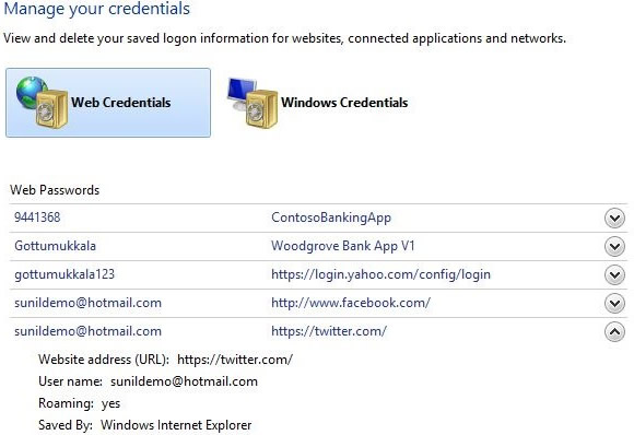 The new Windows 8 Credential Manager will help you store and retreive your Web site passwords.