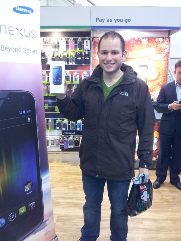 The first owner of a Galaxy Nexus phone, a model built by Samsung and featuring Android 4.0, aka Ice Cream Sandwich.