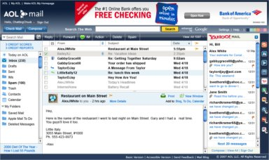 AOL Mail now sports plug-ins in a right-hand pane, including one for Yahoo Mail shown here.