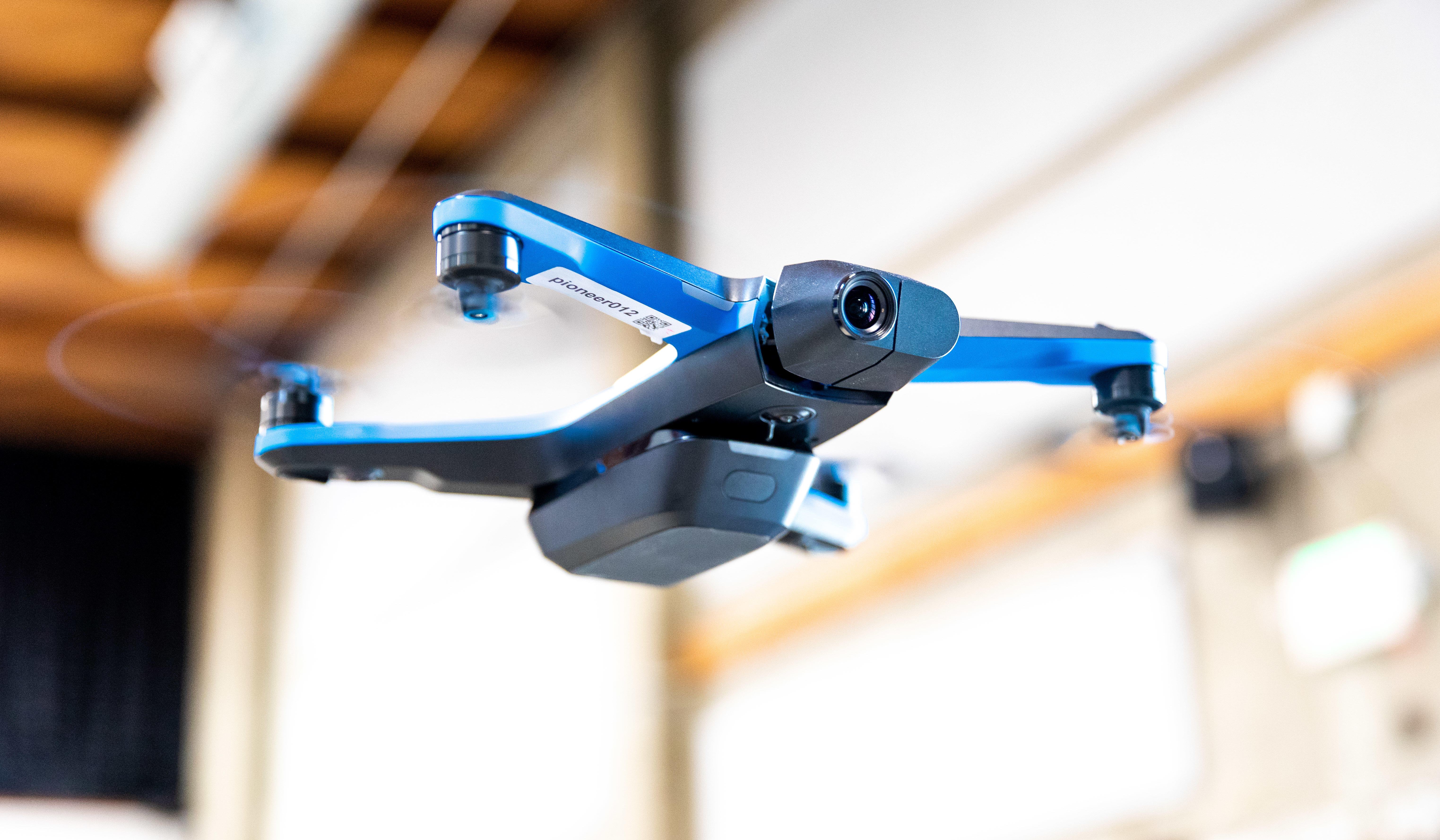 The 1,000 Skydio 2 drone has four propellers, six navigation cameras, a belly-mounted removable camera and a 4K main camera to shoot video.