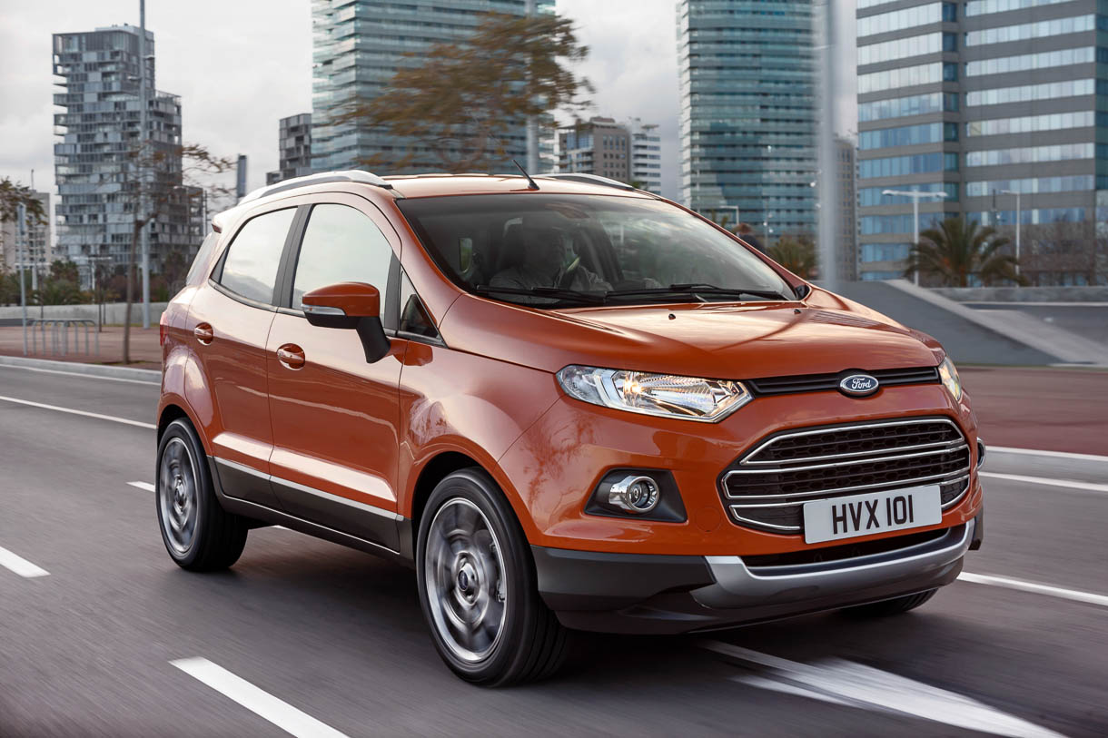 The five-seater Ford EcoSport, a small SUV for the European market, comes with Ford's Sync and AppLink technology.