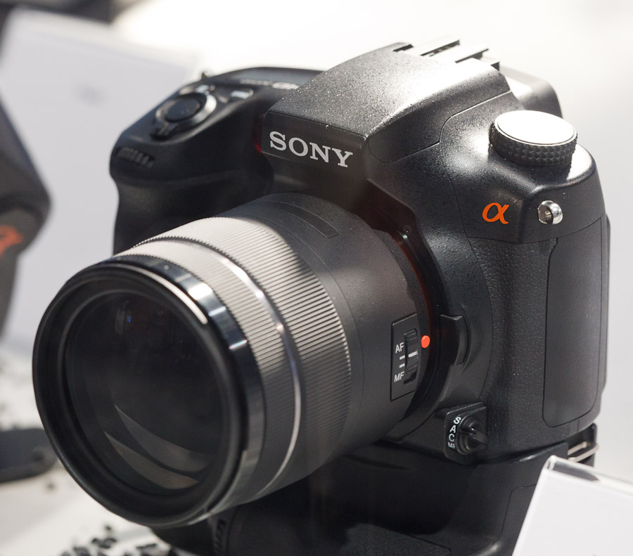 Sony's prototype model of an advanced translucent-mirror camera shown at Photokina.