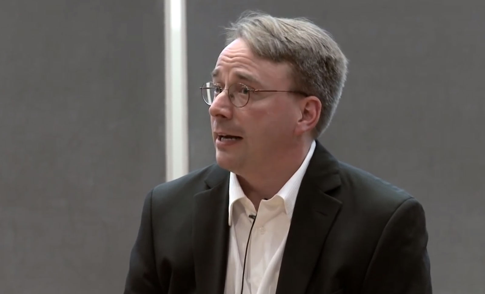 Linus Torvalds in 2012 offers a scathing opinion at the Aalto Center for Entrepreneurship in Finland. Nvidia's move toward cooperating with open-source programmers helped change Torvalds' mind.