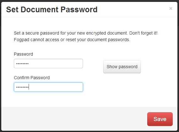 Fogpad dialog for creating and verifying the document's password