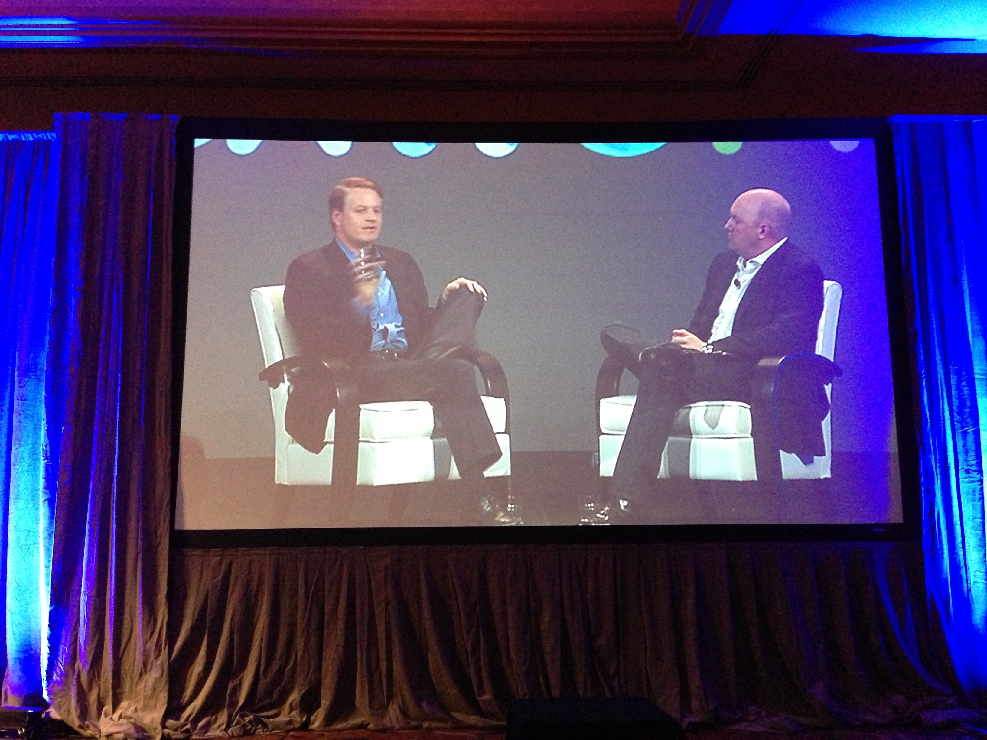 John Donahoe speaking to Marc Andreessen at BoxWorks.