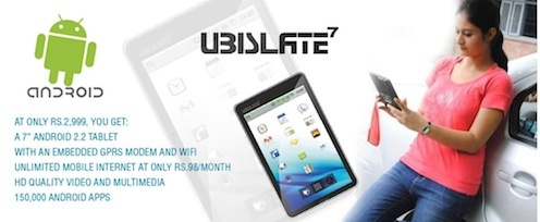 The subsidized 7-inch Aakash tablet will sell for as little as $22. The retail version about $60.