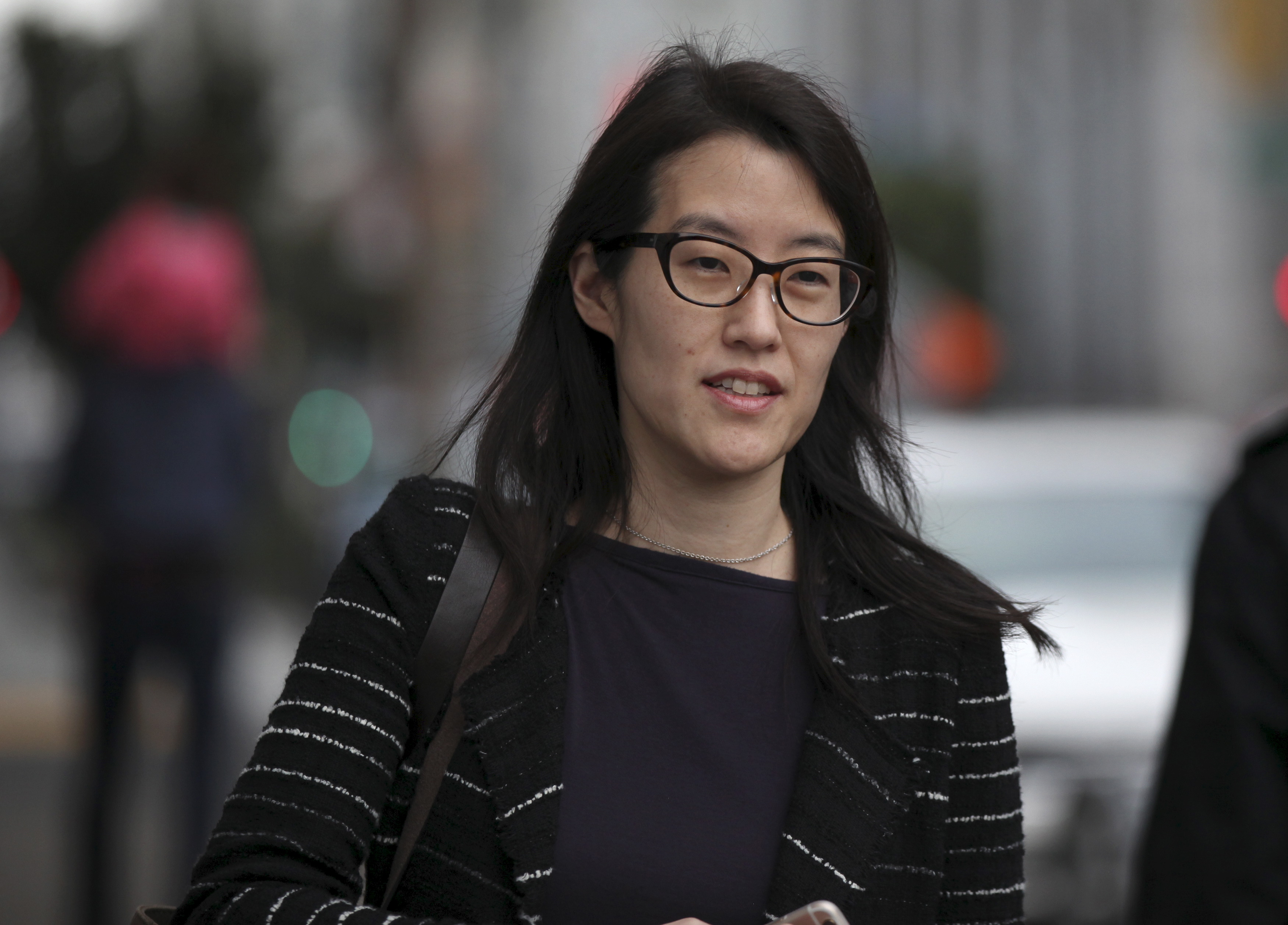 24 Mar 2015, San Francisco, California, USA --- Former Kleiner partner Ellen Pao arrives at San Francisco Superior Court in San Francisco, California in this March 24, 2015. A landmark Silicon Valley sex bias case that has forced venture capital firm Kleiner Perkins Caufield & Byers to air awkward details about its operations was set to begin closing arguments after four weeks of testimony. That will pave the way for a California jury to deliberate claims by Pao that have helped spark a broad discussion about sexism in the notoriously clubby tech start-up scene. REUTERS/Robert Galbraith --- Image by © ROBERT GALBRAITH/Reuters/Corbis