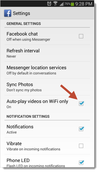 Facebook for Android autoplay setting