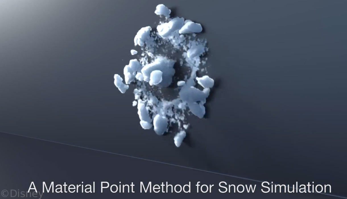 A snowball hits a wall in this simulation by UCLA and Walt Disney Animation Studios researchers.