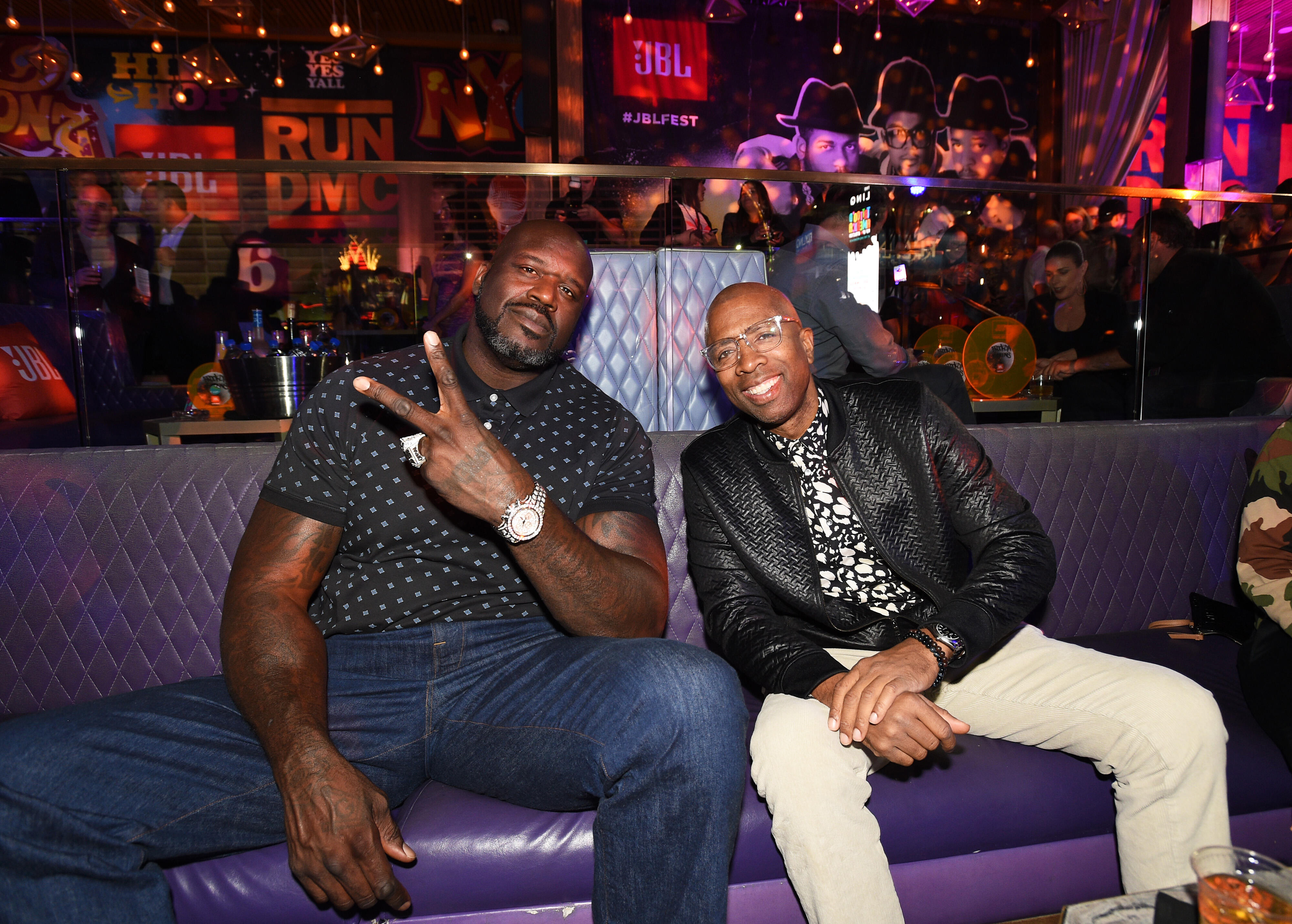 <p>Shaquille O'Neal, left, and Kenny Smith at JBL Fest. They are half of the hosting team from Inside the NBA.</p>