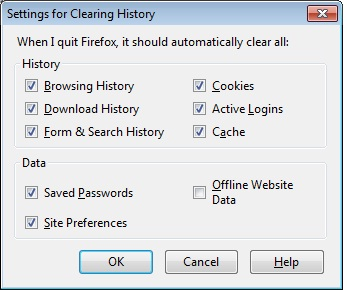 Mozilla Firefox clear-on-exit options