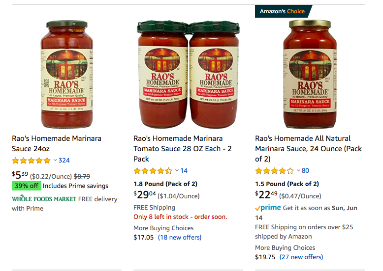 Amazon listings for Rao's Homemade Marinara Tomato Sauce