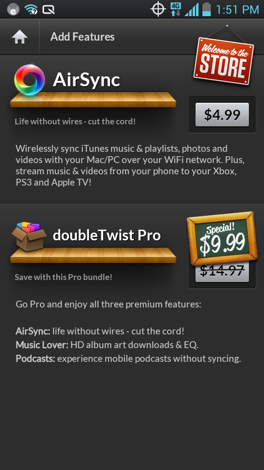 The best things on DoubleTwist are not free