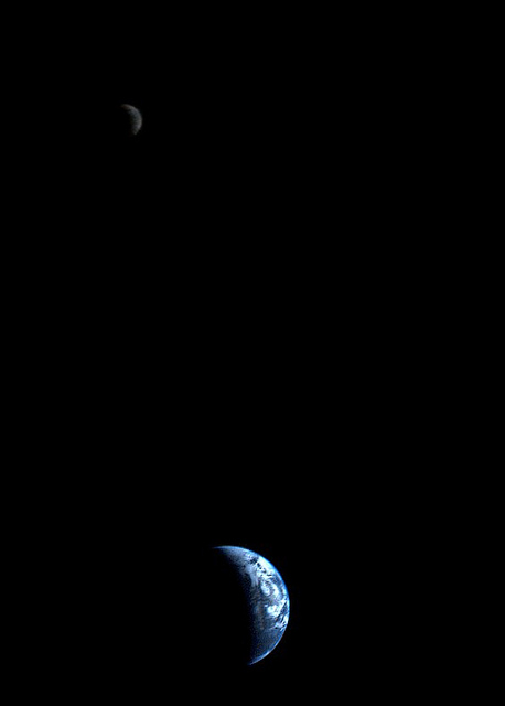 Crescent-shaped Earth and moon
