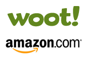 Woot and Amazon's logos