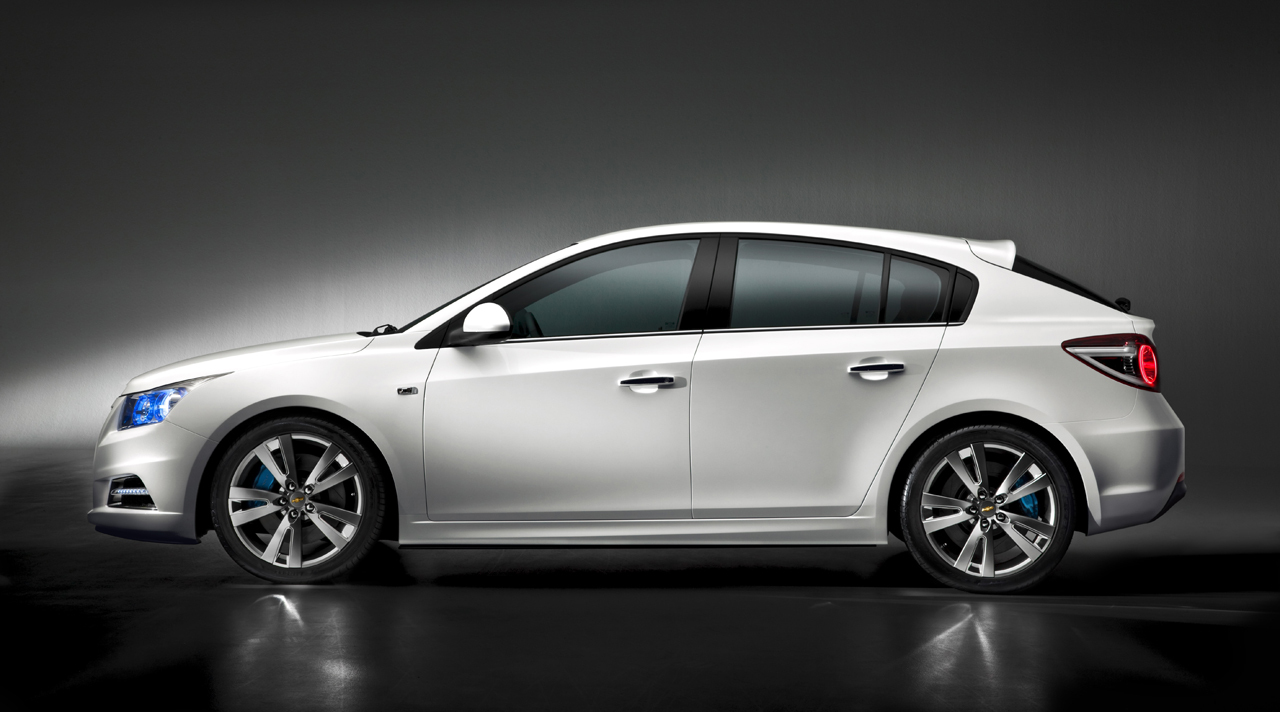 A hatchback version of the upcoming Chevrolet Cruze compact car is previewed before the 2011 Geneva auto show.